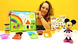 Spielspaß mit Play-Doh Knete - Wir machen ein kunterbuntes Bild - Farben Lernen mit Minnie Maus