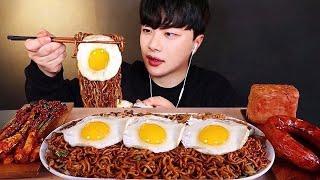SUB)첫 쿡방!??? 직접 만든 짜파게티 먹방 (ft. 실비 파김치) Instant Black Bean Noodles , Fried Egg Mukbang
