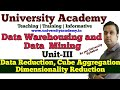 L22:Data Reduction in Mining| Data Cube Aggregation| Dimensionality reduction |hierarchy generation