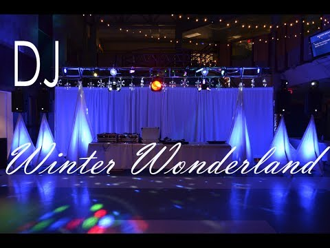 High school dance dj set up winter wonderland party for Winter dance decorations