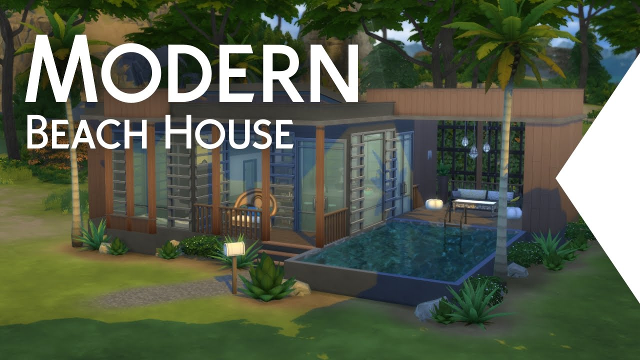 "Modern Beach House the sims 4: building - modern beach house ""hello"" - youtube"
