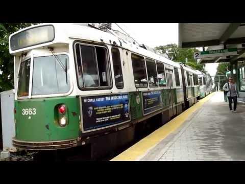 MBTA Green Line trains at Riverside