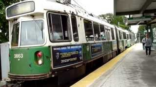 MBTA Green Line trains at Riverside