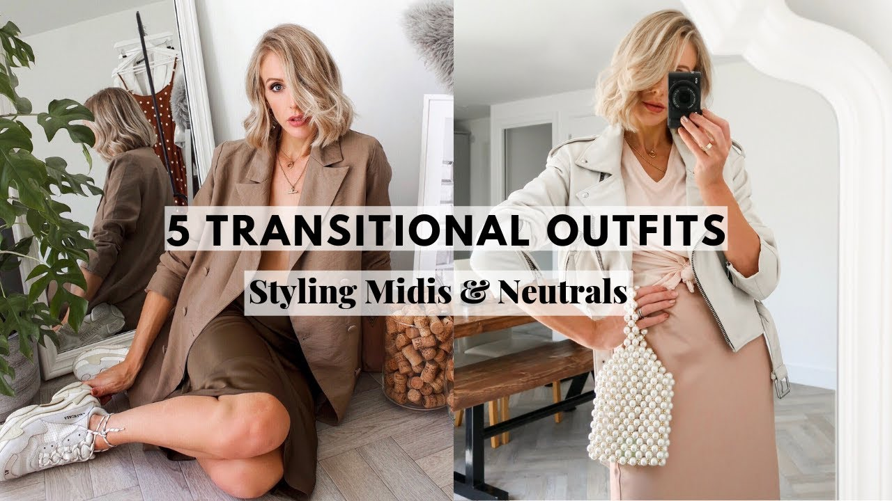 5 TRANSITIONAL OUTFITS FOR AUTUMN/FALL ? | Styling neutrals and midi length skirts and slip dresses 8