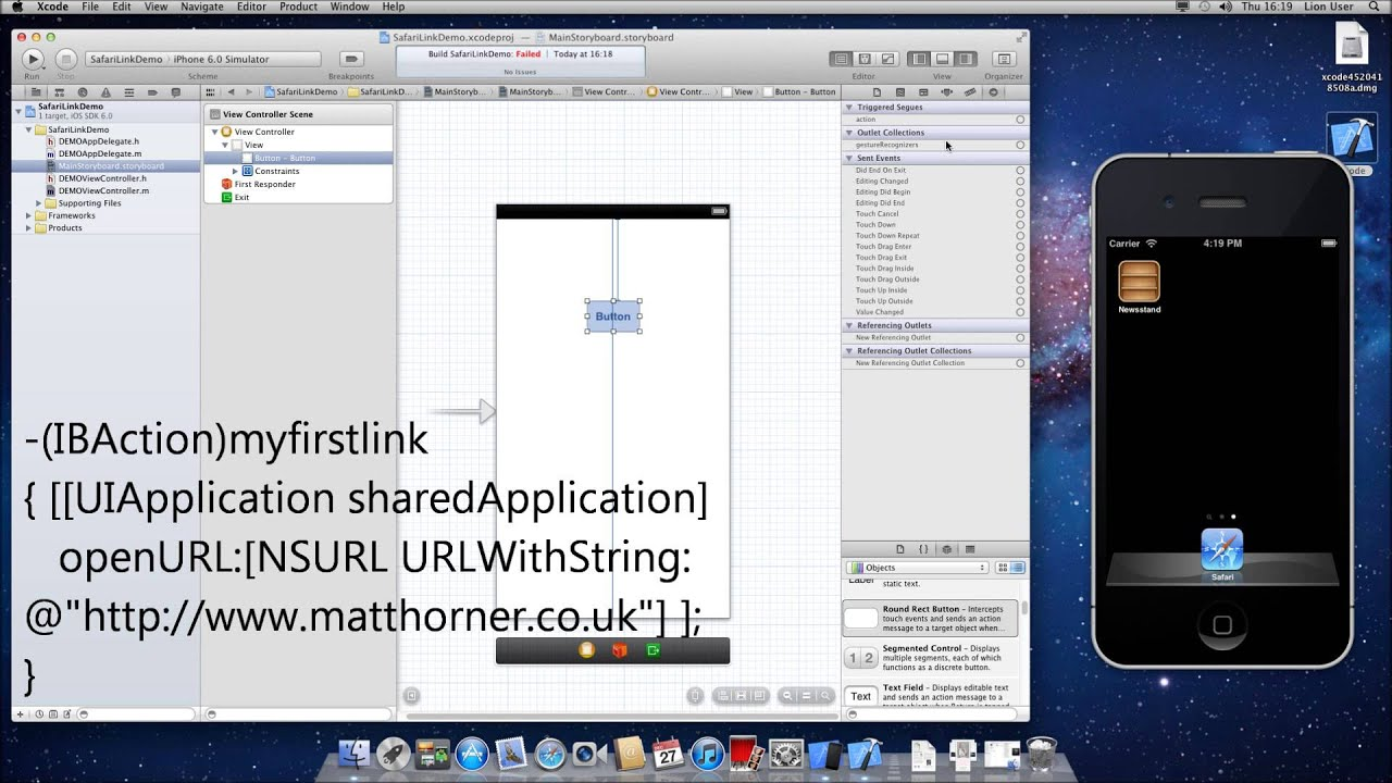 XCode 4 6 2 Tutorial : Open Safari Link on Button when creating iPhone  App[HD][How To][Guide]