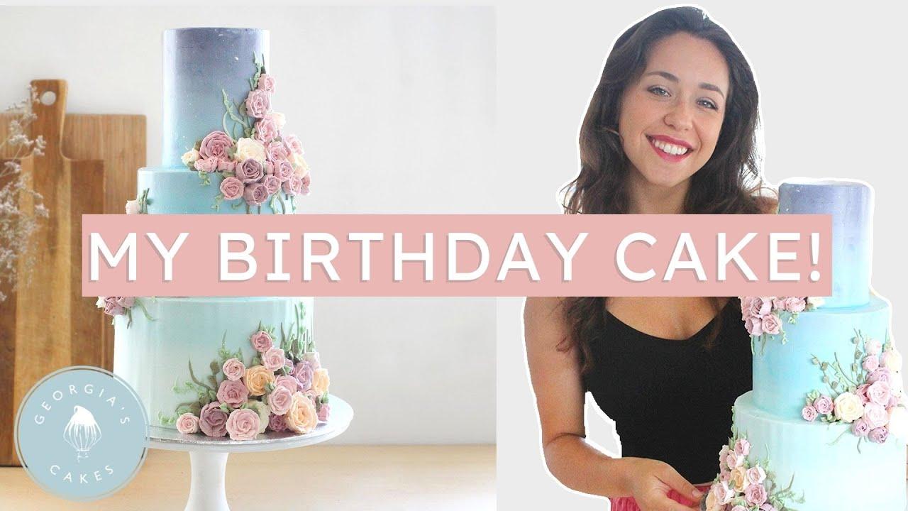 I Made Myself a Birthday Cake! Mystical Garden Cake with Buttercream Roses   Georgia's Cakes