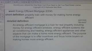 Energy Efficient Mortgage (EEM) CA Real Estate License Exam Top Pass Words VocabUBee.com
