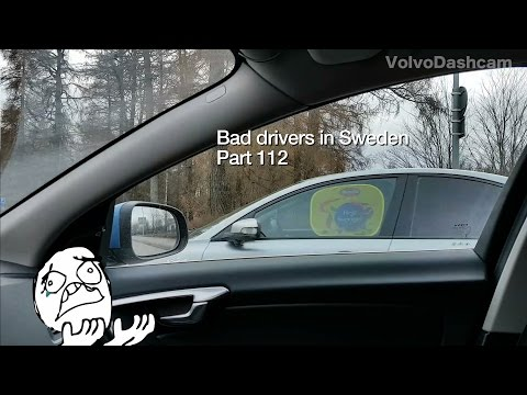 Bad Drivers in Sweden #112 Dodge driver and sun blocker