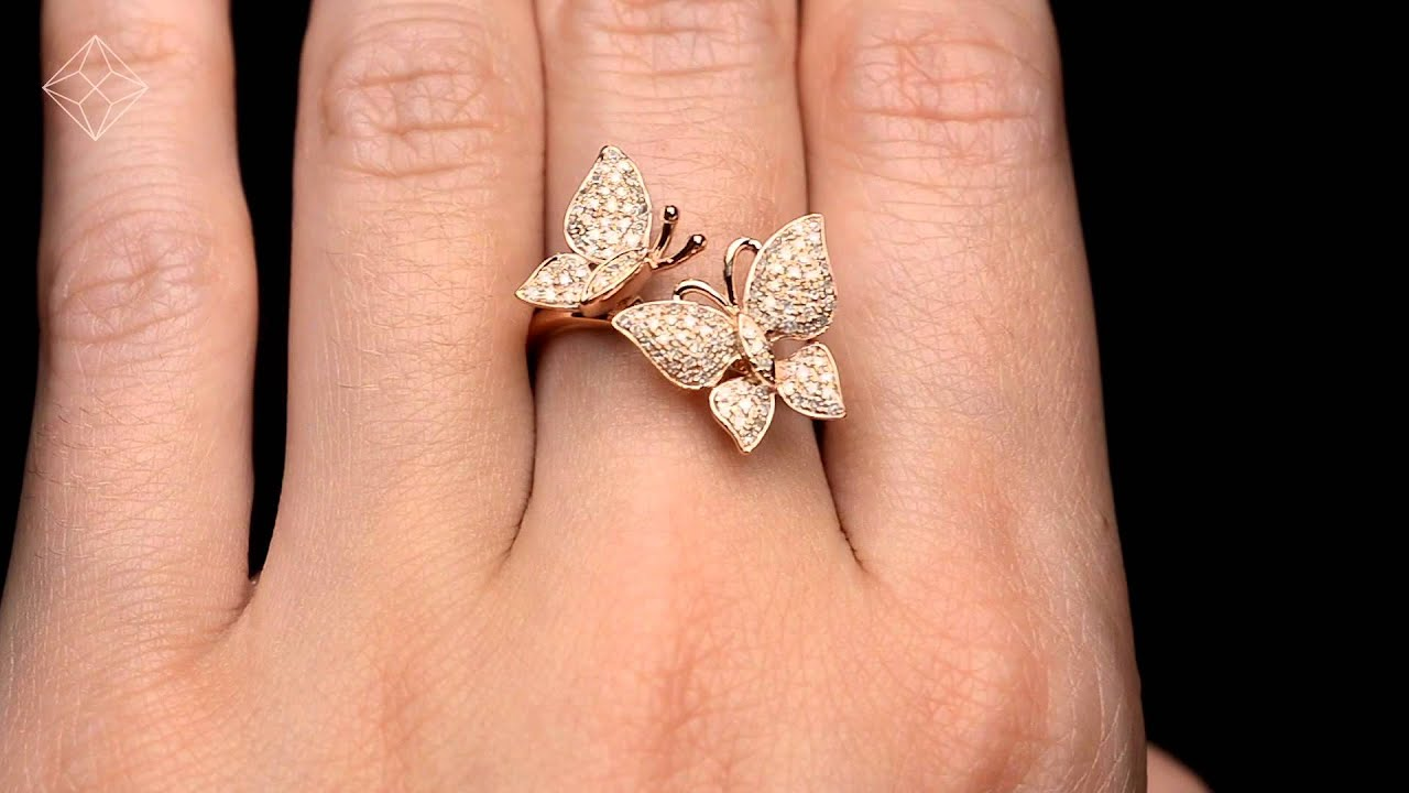 rose diamond mizana products jewelry loop butterfly ring collections gold