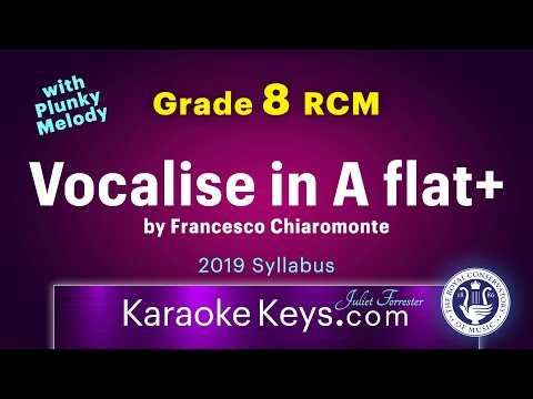 Vocalise in A flat Major. with PLUNKY melody.  by Francesco Chiaromonte.  Grade 8 RCM. Karaoke Piano