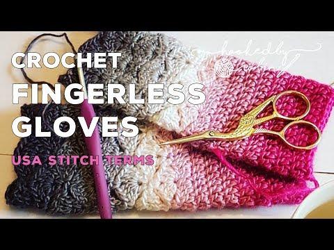 Crochet tutorial - Fantail Shell Stitch Fingerless Gloves - free pattern