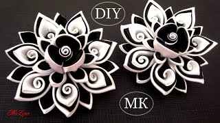 Резинки канзаши, МК / DIY Scrunchy with Kanzashi flower / Black & White Ribbon Flowers