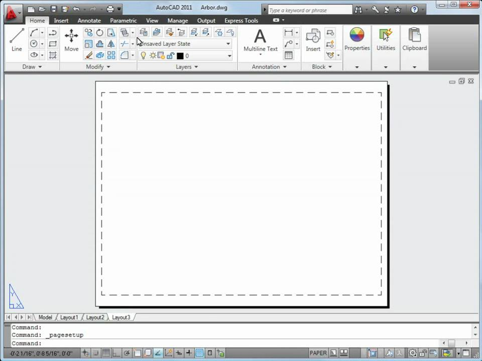 how to put work on a layout auto cad