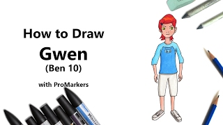 How to Draw and Color Gwen from Ben 10 with ProMarkers [Speed Drawing]