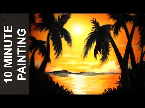 Painting A Beach Sun Set with Acrylics in 10 Minutes!