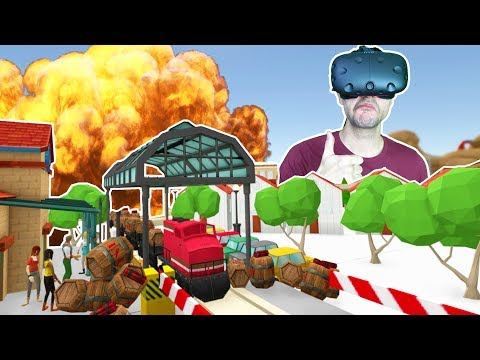 TRAIN CARRYING 1000 TONS OF TNT EXPLODES IN THE CITY! - TrainerVR HTC VIVE Gameplay |