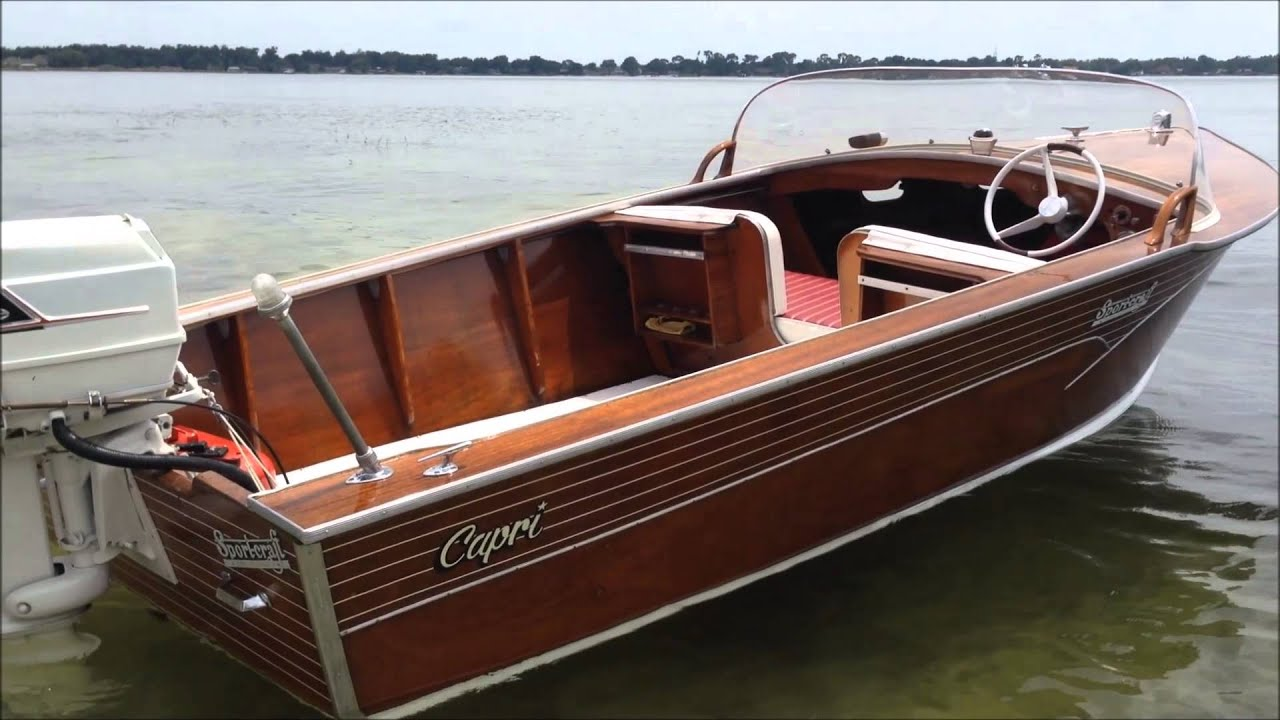 Antique Mahogany Sportcraft Boat For Sale