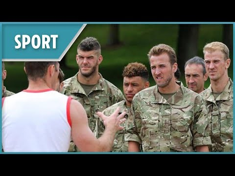 England squad trained with Royal Marines for the World Cup