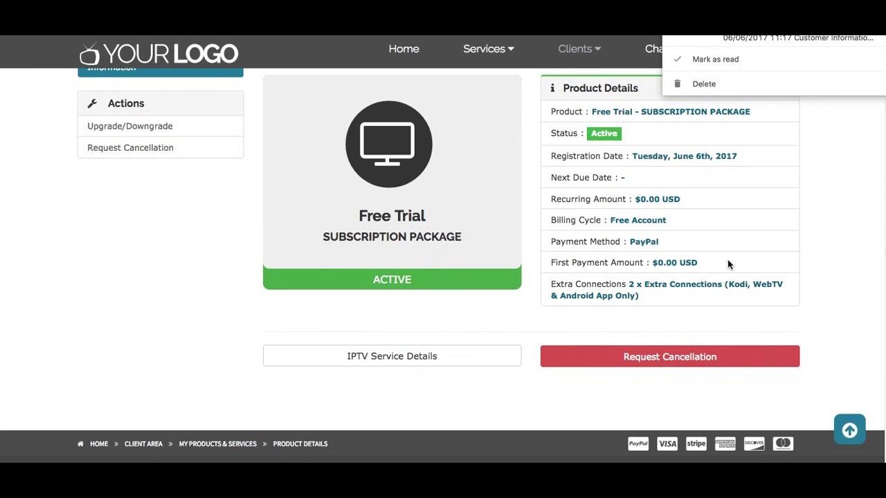 IPTV Billing Portal for Xtream Codes | User Area