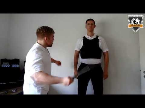Stab proof vest NIJ level 1 tested with baton, knife and spike
