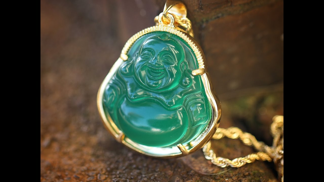 Mens Wholesale Hip Hop Jewelry Green Jade Buddha Necklace YouTube