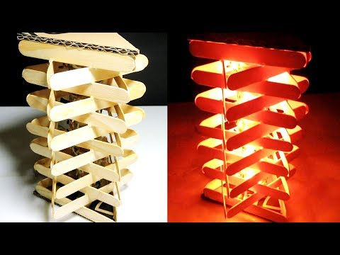 How to Make a Popsicle Stick Lamp  Easy Crafts Ideas at Home DIY ROOM DECOR