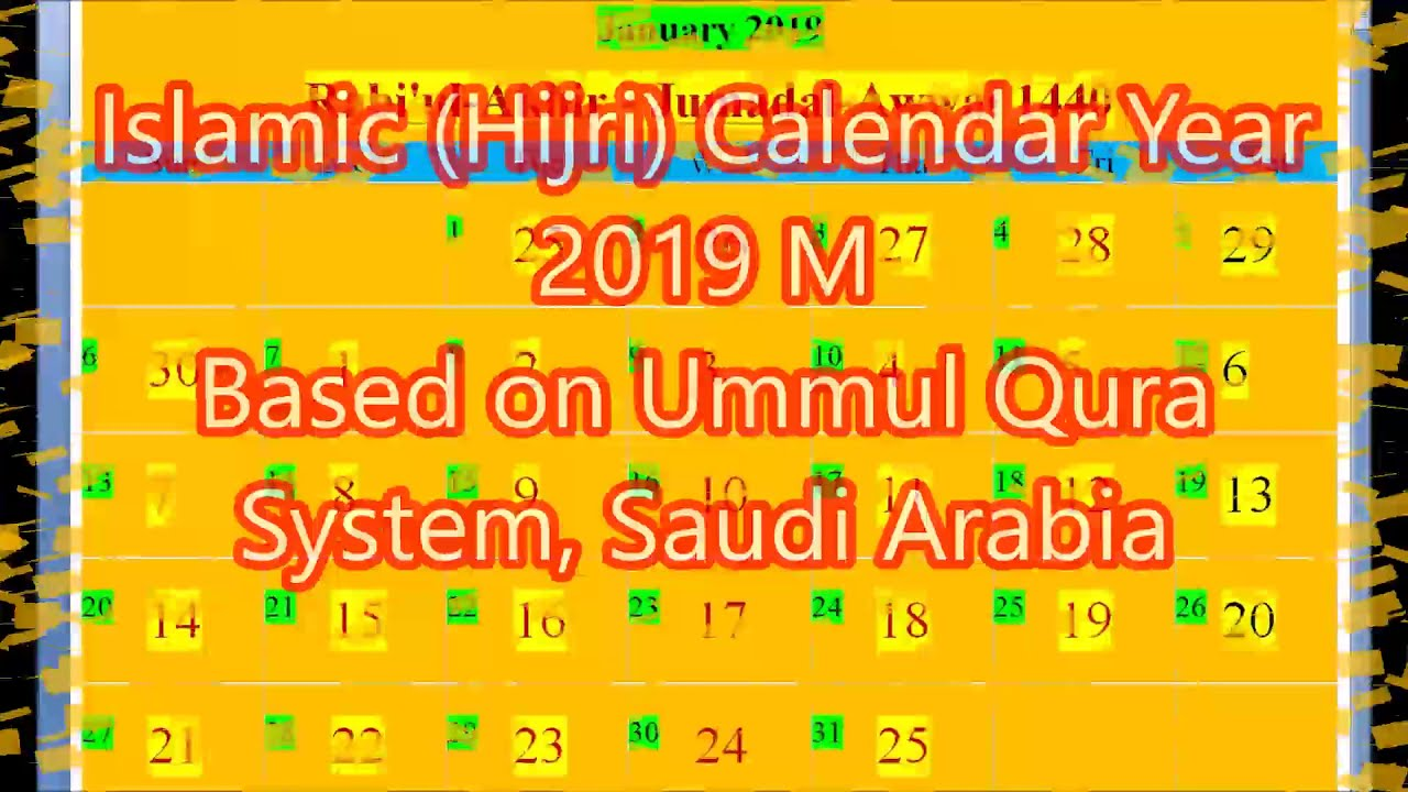 islamic hijri calendar 2019 based on saudi arabia