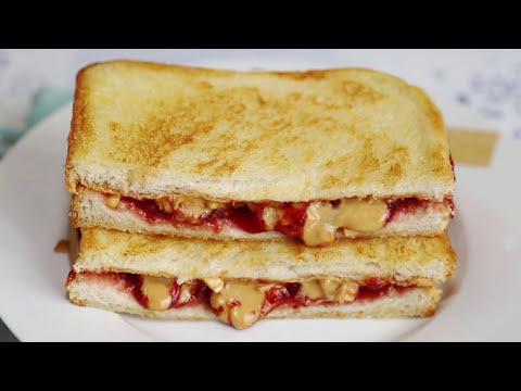 Peanut Butter & Strawberry Jam Grilled Sandwich Recipe