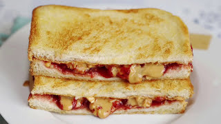 Peanut Butter & Strawberry Jam Grilled Sandwich Recipe