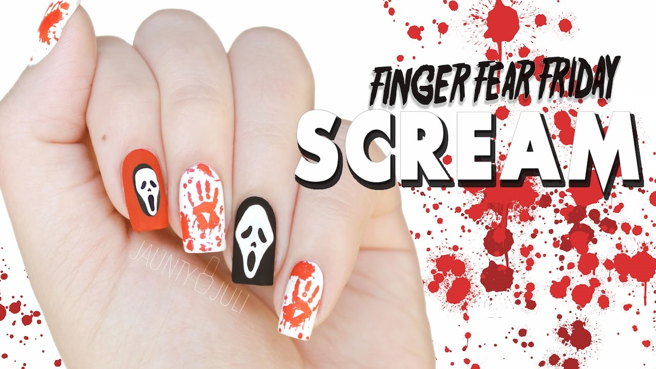 Scream Ghostface Killer Halloween Nail Art Finger Fear Friday