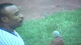 Dwight Smith Singing National Anthem at Wrigley Field! Chicago Cubs