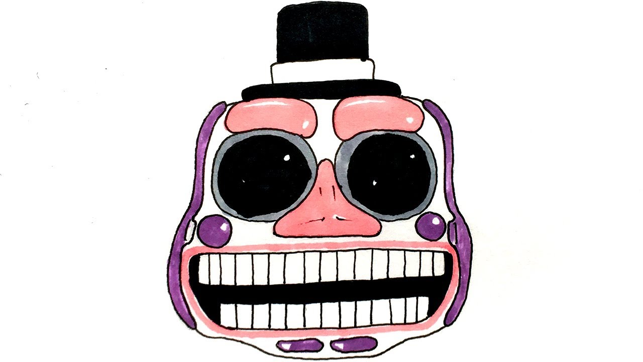 How To Draw Music Man Animatronic Head (FNaF 6) Freddy