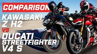 Ducati Streetfighter V4 S vs Kawasaki ZH2 | Visordown.com