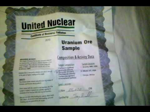 United Nuclear High Radiation Level Uranium Ore Sample