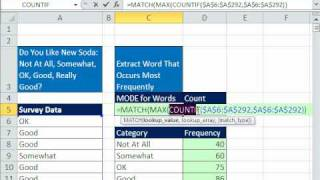 Excel Magic Trick 592: Extract Word That Occurs Most Frequently - MODE for Word - Data Array Formula