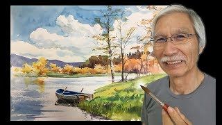 [ Eng sub ] How to draw Autumn Pond | Watercolor Tips 水彩画の基本〜秋の沼を描くコツ