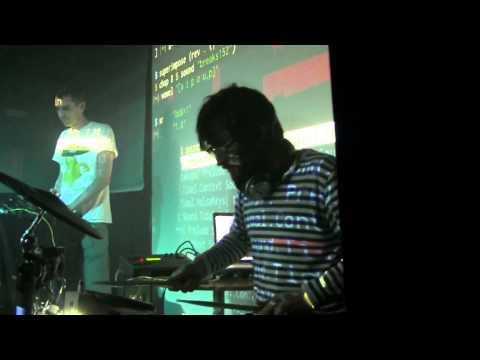 Canute live coding + drums at Jubez Karlsruhe Algorave