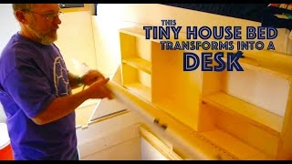 Clever Tiny House Bed TRANSFORMS into a DESK!