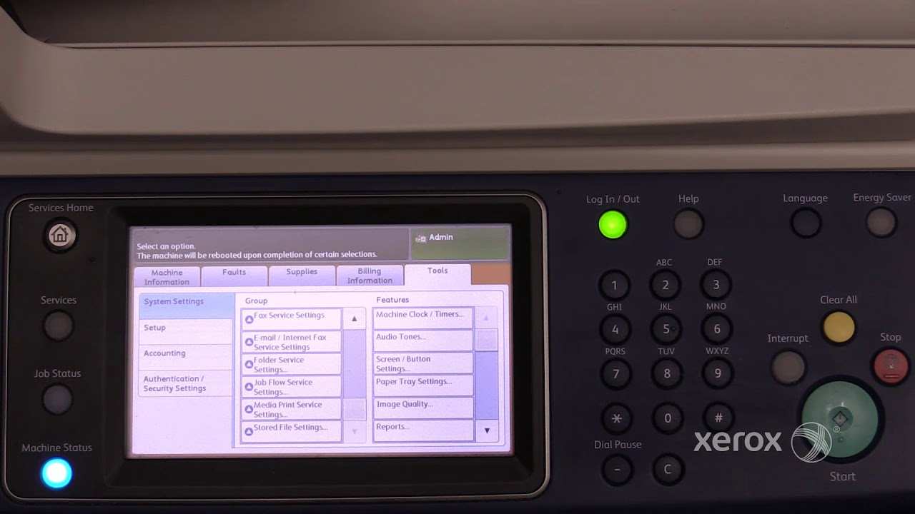 Xerox Workcentre 5335 Family Accessing Administrator Tools Youtube