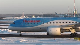 Thomson Airways Boeing 787 winter De-ice and takeoff at Helsinki Airport