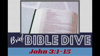 Brief Bible Dive: Born Again and Born from Above – John 3:1-15