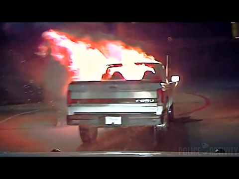Texas cop pushes burning truck out of drive-thru with cruiser