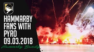 Hammarby fans with pyro 09.03.2018 (Bandy 1/2final)