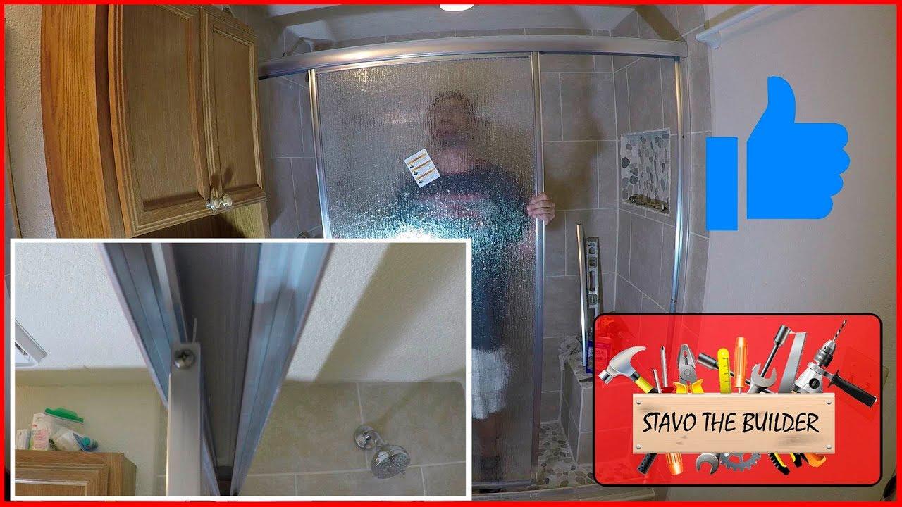 Como instalar una puerta de vidrio corrediza o deslizante para ducha ...