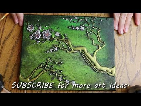 How To Paint Tree Blossoms With Hot Glue Texture Youtube