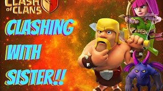 "Clash of Clans: LITTLE SISTER PLAYING CLASH OF CLANS!!! ""INFO ON GIVEAWAY!!"""