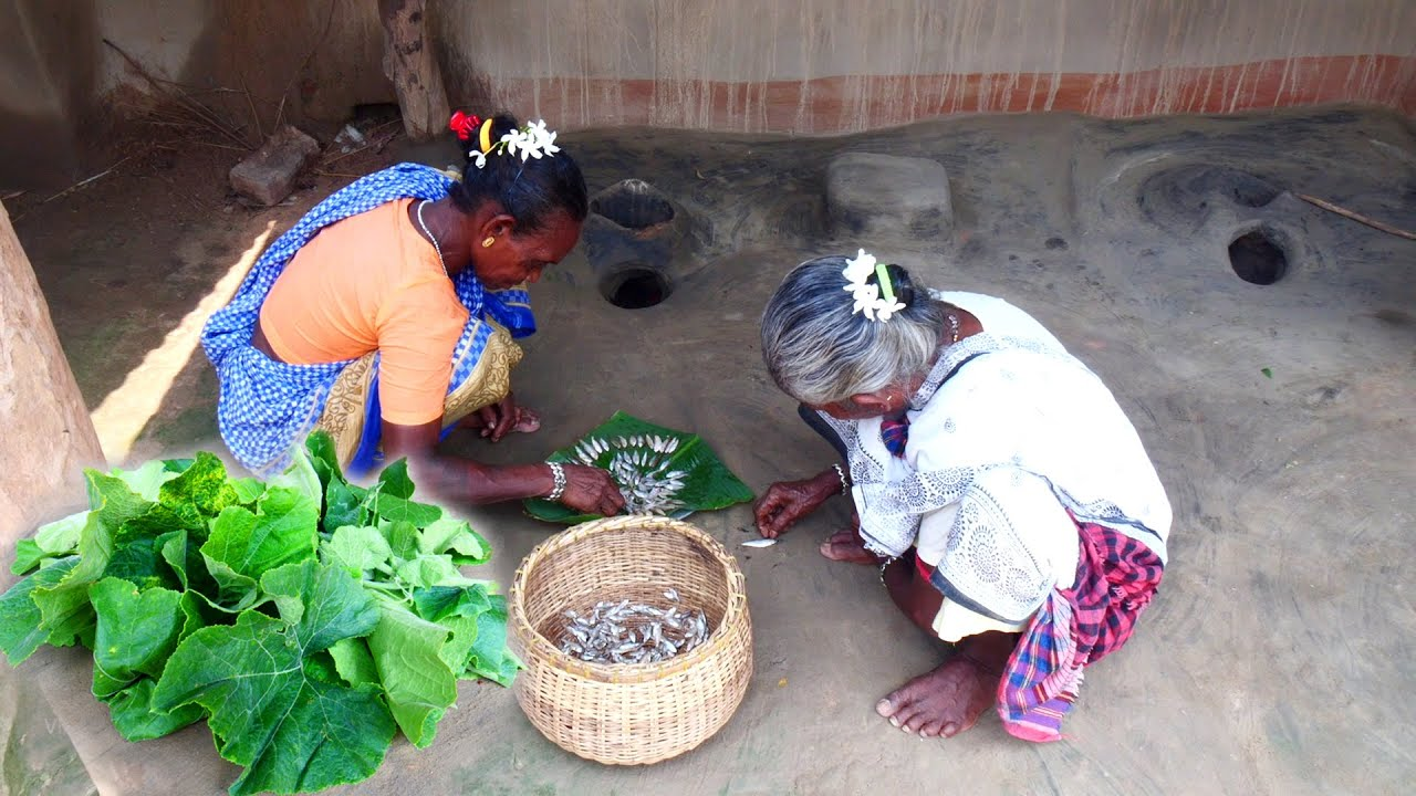 Small fish recipe   tribe unique style small fish and pumpkin leaves recipe by santali grandmothers