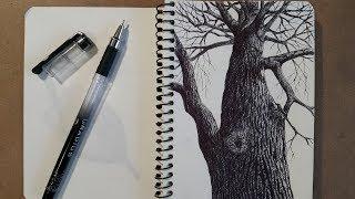 Рисуем дерево шариковой ручкой