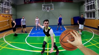 Basketball from the first person. Basketball training. Basketball go pro.