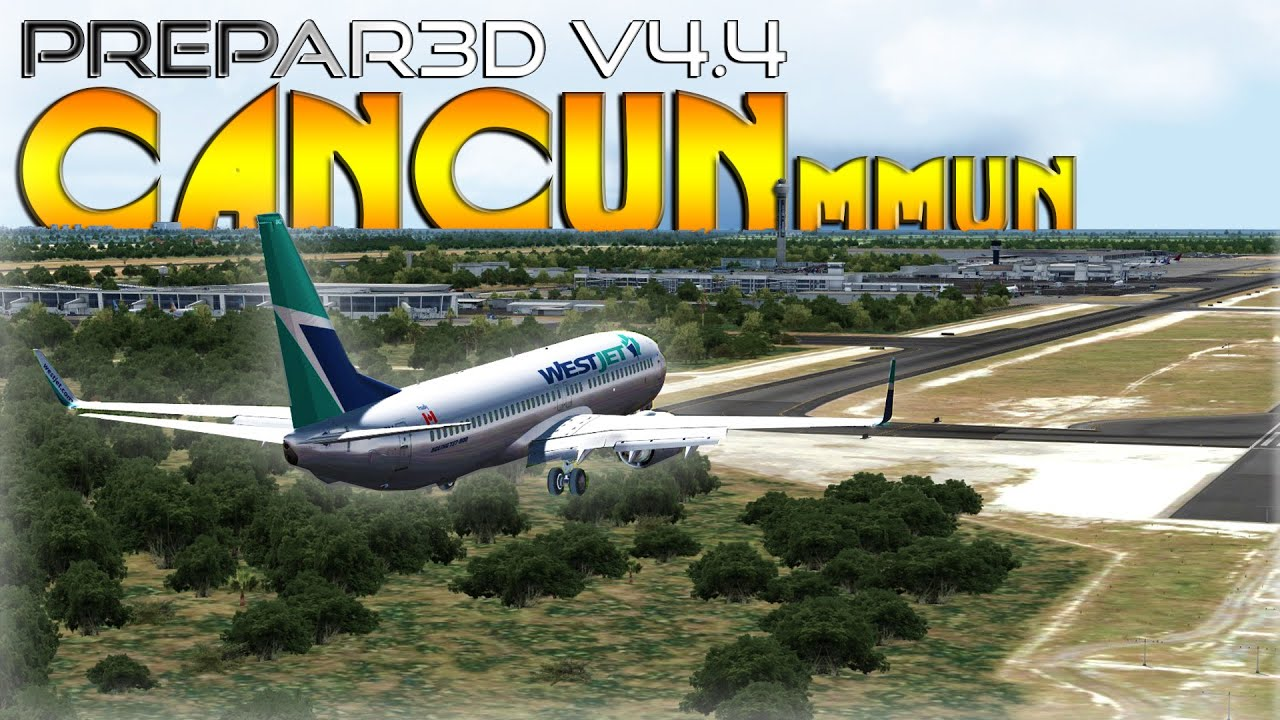 [P3D V4 4] WestJet | Boeing 737-800 | Approach to Cancun MMUN